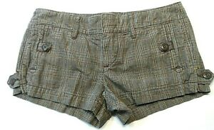 American-Eagle-Outfitters-Womens-Shorts-Size-0-Plaid-Booty-Shorty-Low-Rise-Mini
