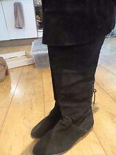 WOMEN'S Nero Vintage Boho in pelle scamosciata sopra il ginocchio taglia UK 6/EUR 39