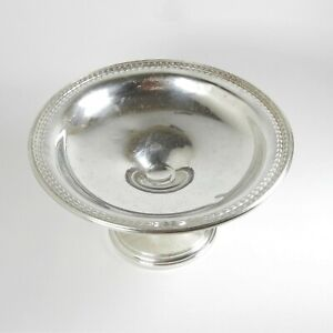 Vntg-Wallace-Sterling-Silver-Embossed-Footed-Candy-Nut-Serving-Compote-Dish-H-23