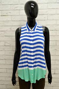 HOLLISTER-Donna-Camicia-Maglia-Taglia-Size-S-Maglia-Blusa-Shirt-Woman-Blu-Bianco