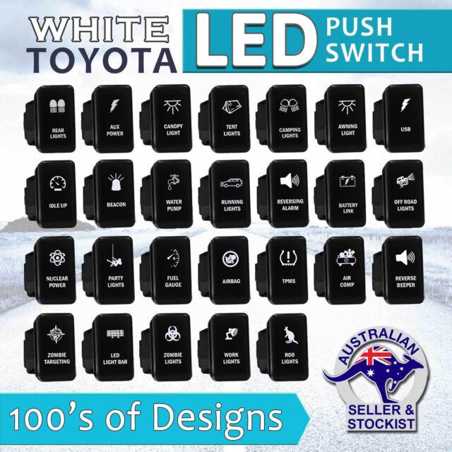 12V WHITE LED Fog Light Bar Push Switch For Toyota Hilux FJ Cruiser Landcruiser
