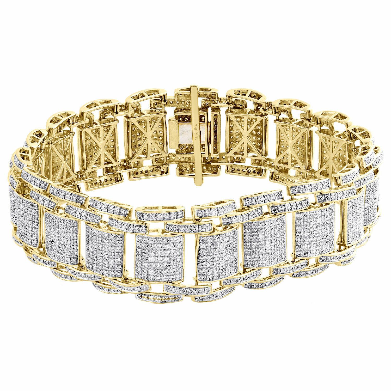 Mens 10K Yellow gold Over Diamond Fancy Statement Bracelet 8.5    4.63 CT.