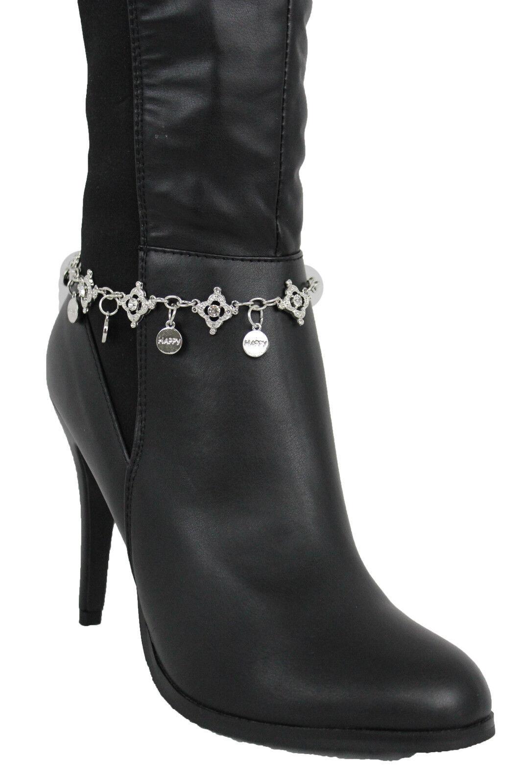 Women Silver Metal Boot Chains Bracelet Shoe Multi Charm Bling Happy Street Hood