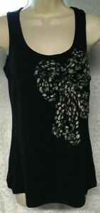 XXI  Black Tank Top Embellished Sequin Bow polka dot Bow decor Size S