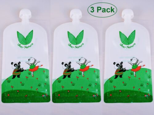 Reusable Food Pouches 3 Pack Baby Food Pouches for Homemade Snacks