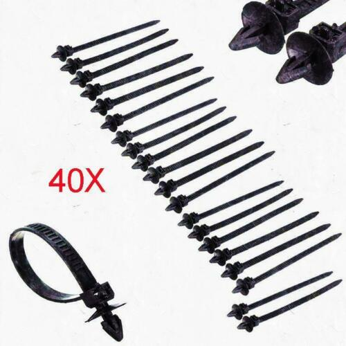40PCS Nylon Zip Trim Wrap Cable Loop Ties Wire Self Lock Car Push Mount Clip New