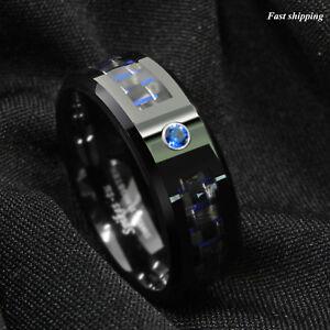 black and blue carbon fiber tungsten ring blue diamond atop men s