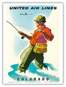 Image Is Loading Colorado Fisherman Fly Fishing Vintage Airline Travel Art