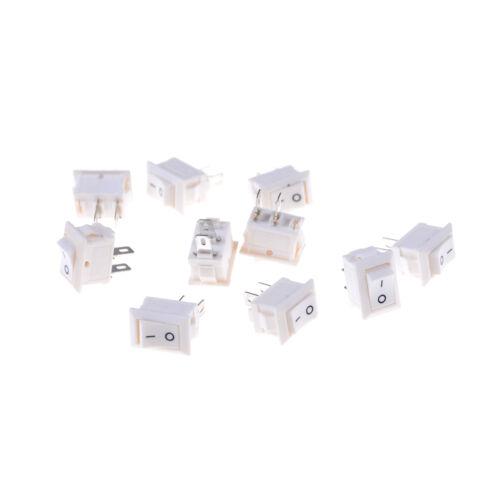 10x 2pins KCD11 Ein Aus 3A 250V 15x10mm Wippschalter Netzschalter Weiß samRSJF
