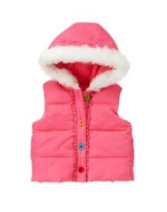 GYMBOREE-WINTER-CHEER-PINK-FUR-TRIM-HOODED-PUFFER-VEST-6-12-24-2T-3T-NWT