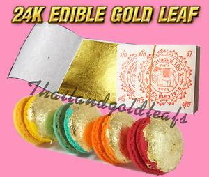 Edible Gold Leaf Cake Decorating : 10 Edible Gold Leaf Sheets 24K 100% Pure Cake Decoration ...