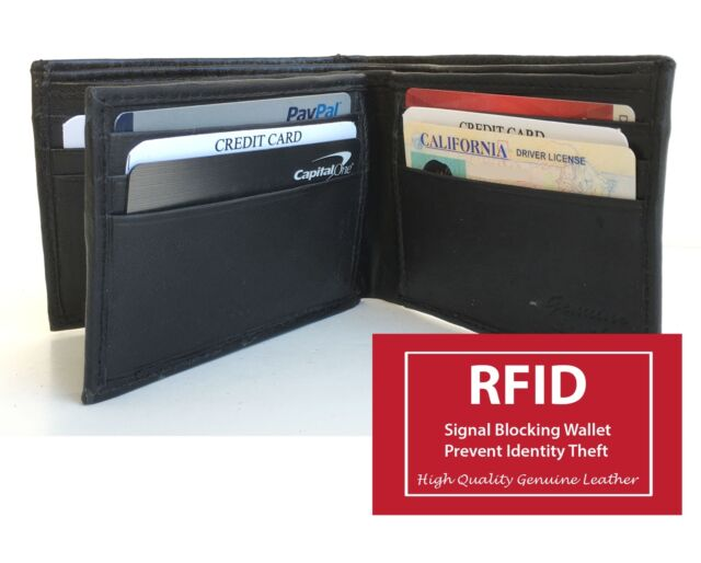 46310bb6a23c RFID Block Leather Center Flap Hipster Big ID 12 Card Men's Bifold Wallet