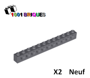 Lego 3895 x2 Technic Brick 1 x 12 with Holes Dark Bluish Grey