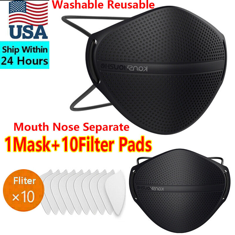 Mouth Mask &10X Carbon Filters Separate Nose Purify Respirator Washable Reusable