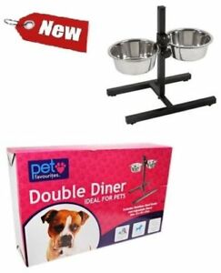 HEAVY-DUTY-ADJUSTABLE-DOG-RAISED-DOUBLE-DINER-STAND-FOOD-WATER-PET-FEEDING-BOWL