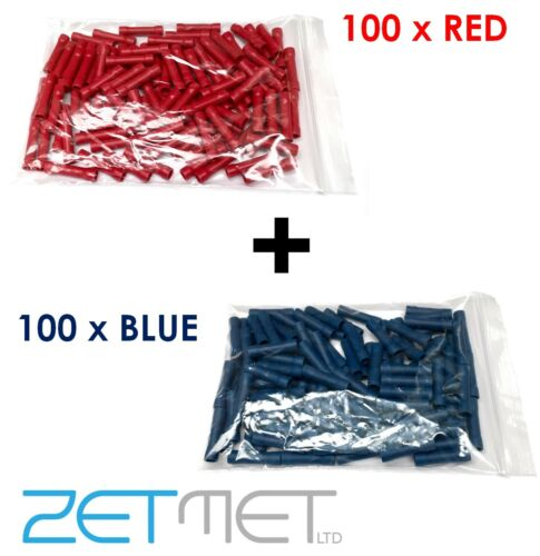 200 RED /& BLUE Insulated Straight Through Butt Connectors Terminal Cable Crimps