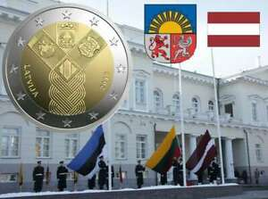 2-euro-commemorative-Lettonie-2018-Etats-Baltes