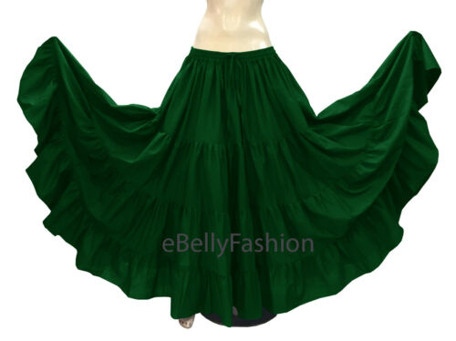Green Cotton Gypsy 4 Tiered 10 Yard Skirt Belly Dance Flamenco Tribal Jupe