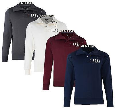 Firetrap New Men's Overhead Half Zip Print Sweatshirt Slim Fit Acland Sweat Top