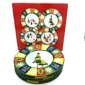 Christmas-Holiday-Earthenware-8-5-034-Dessert-Plate-Set-Madison-amp-Max-Set-of-4
