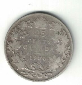 CANADA-1920-TWENTY-FIVE-CENTS-QUARTER-KING-GEORGE-V-800-SILVER-CANADIAN-COIN