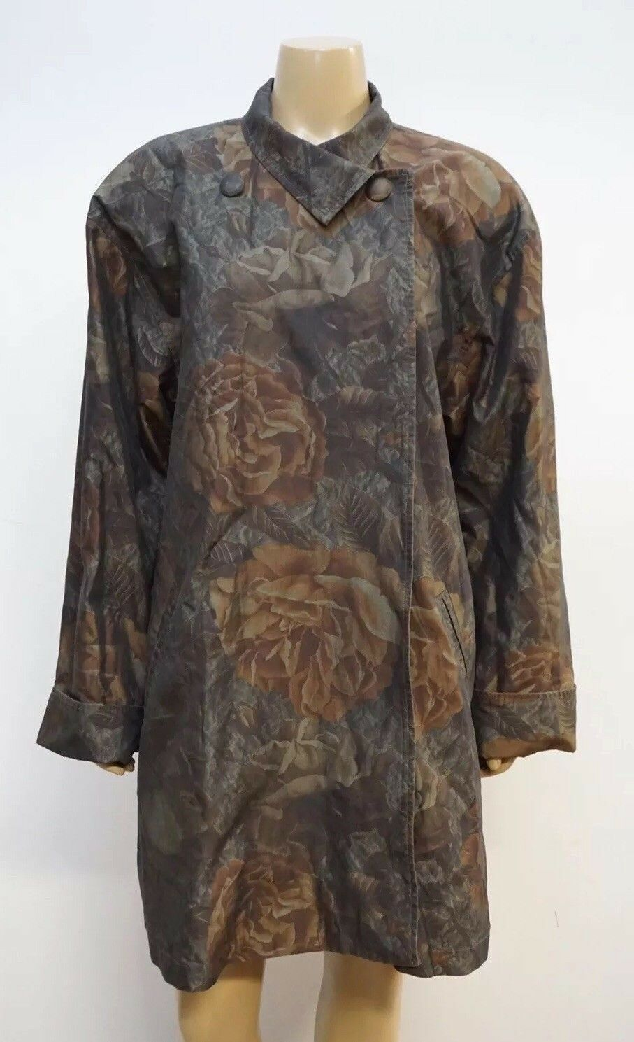 Vintage Tamotsu New York Womens Small Coat Floral Trench Style