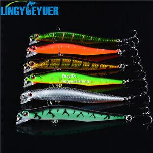 Lot 6Pcs Minnow Fishing Lures Bass CrankBait Crank Bait Tackle Hooks 12cm/10g