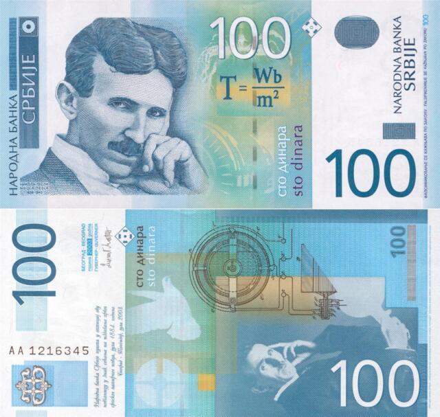 NIKOLA TESLA 100 SERBIAN DINAR GLOSSY POSTER PICTURE PHOTO light bulb ac 1592