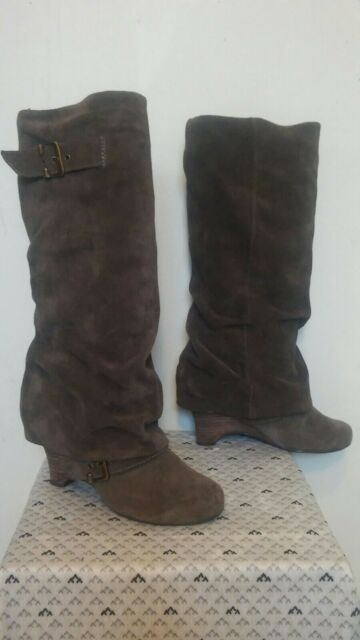 NAUGHTY MONKEY Women's Size 7 Brown Suede Leather Slouch Knee High Buckle Boots