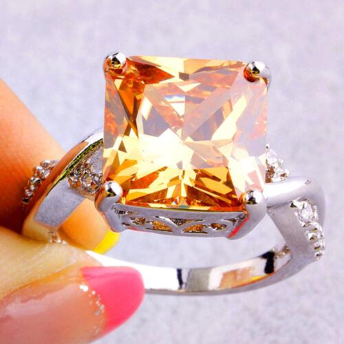 Engagement princesse bijoux Morganite /& White Topaz Gemstone Silver Ring Cadeau