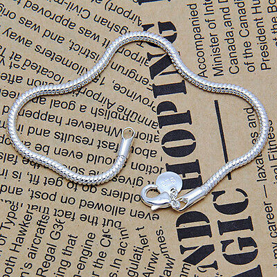 Fashion hot new Girl's Silver Plated 4mm Snake Type Chain Bangle Bracelet