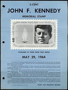 UNITED-STATES-MINT-SOUVENIR-PAGE-1964-JOHN-F-KENNEDY-FOLDED-PUNCH-HOLES