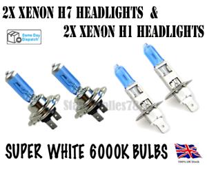 4x 100W SUPER XENON WHITE BULBS H7 HEADLIGHT BULBS AND H1 HIGH BEAM BULBS SET