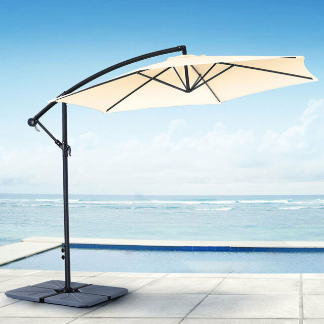 JARDER 3M CANTILEVER PARASOL CREAM GARDEN SUNSHADE PATIO UMBRELLA CANOPY OUTDOOR