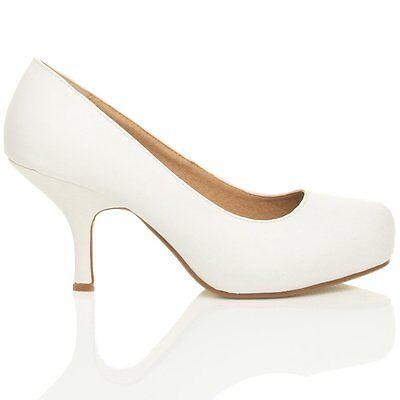 Mujeres Talón Mediados Bomba De Trabajo Inteligente Casual Damas Tribunal Zapatos Talla 3-8