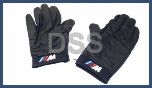 New Genuine BMW M Driving Gloves Black Leather Medium Sized OEM