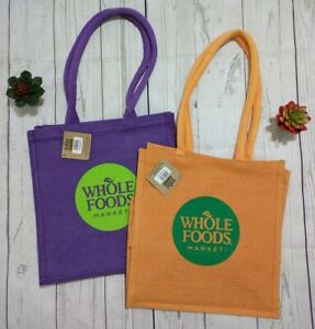 Details About Whole Foods Market Jute Burlap Recycle Reusable Ping Tote Bag New