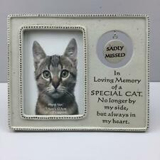 New MEMORIAL PET FRAME SADLY MISSED SPECIAL CAT Hanging tag In Loving Memory