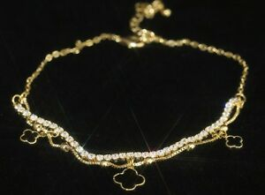 Keep You Fit All The Time 14k Yellow Gold Gf Rational Pretty Four-leaf Clover & Tiny Tennis Created Diamond Anklet