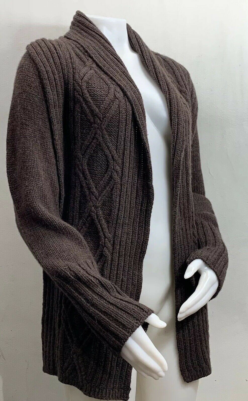 Inis Meain Wool Alpaca Cashmere Brown Knit Open F… - image 3