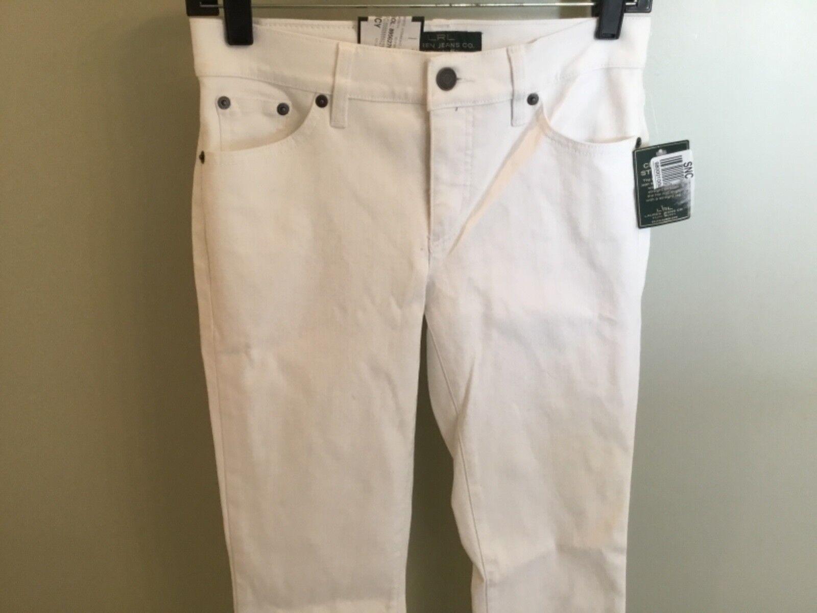 Ralph Lauren White Denim Jeans New 2P Petite Women's Pants Stretch Slimming Fit