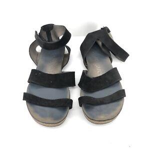 B48) Pedro Garcia Sandal Black strappy suede  Leather Size 38.5/8.5M