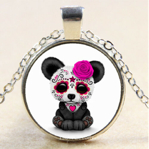 Photo cabochon verre argent Populaire Pendentifs Collier ( Sugar Skull Panda