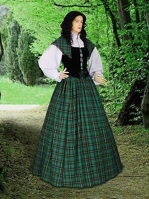 Traditional Scottish Dress Tartan Highland Renaissance Dress Reenactment