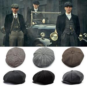 Men-Flat-Hat-Herringbone-Newsboy-Cap-Driving-Cabbie-Peaky-Blinders-Baker-Boy-Hat