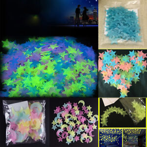 Four-Color-100PCS-3D-Home-Wall-Ceiling-Glow-In-The-Dark-Stars-with-Moon-Stickers