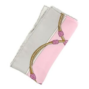 Authentic-CELINE-Rope-Pattern-Scarf-Multi-Color-Silk-f01629