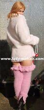 Silky Soft Fuzzy Kid mohair Sweater legwarmer beinstulpen polainas rosa