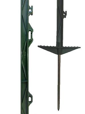 Electric Fencing Fence Stakes Double Step Pony 60 X GREEN 3FT POLY POSTS