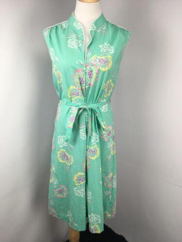 VTG 70s KOMAR USA Jumpsuit Robe Zip Up Floral Mint